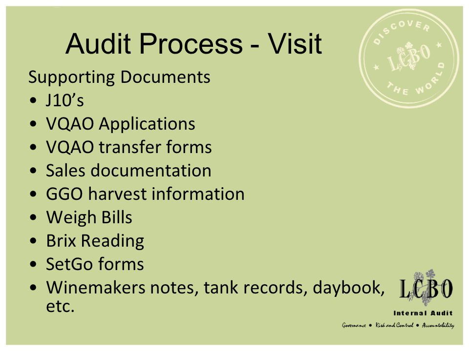 Audit Process - Visit Supporting Documents J10's VQAO Applications