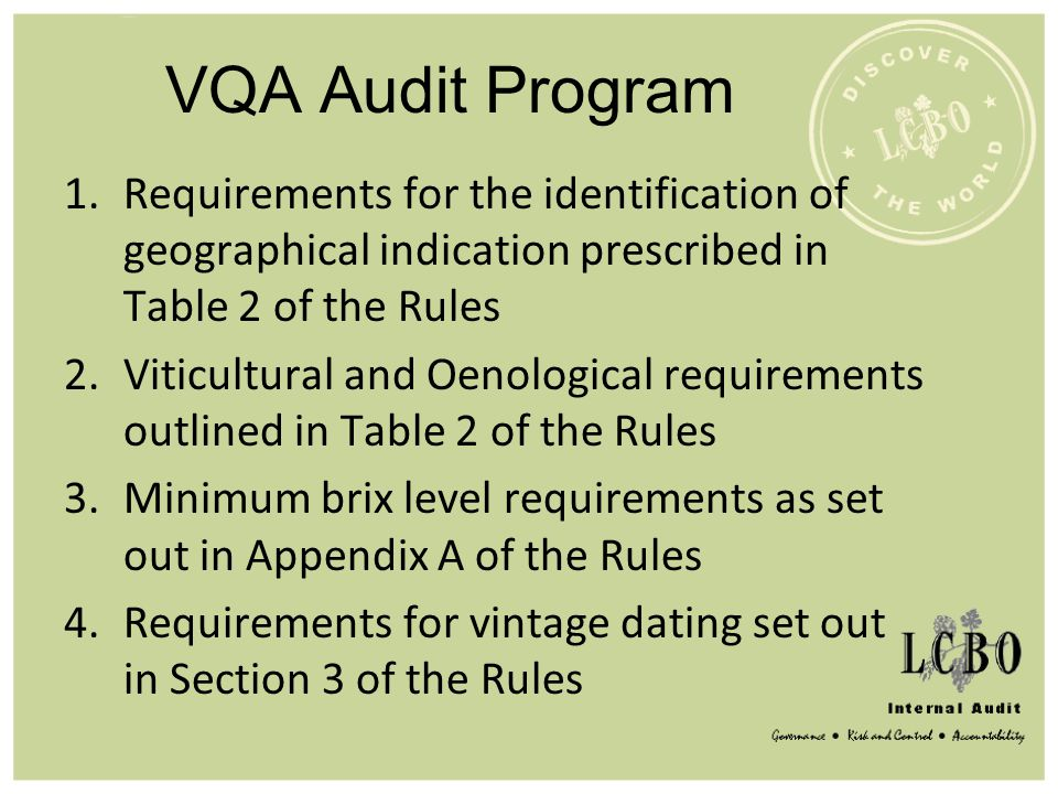 VQA Audit Program Requirements for the identification of geographical indication prescribed in Table 2 of the Rules.