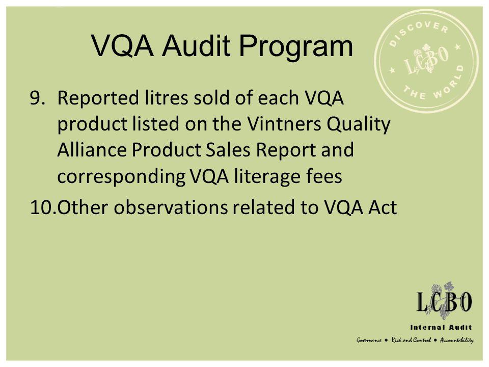 VQA Audit Program