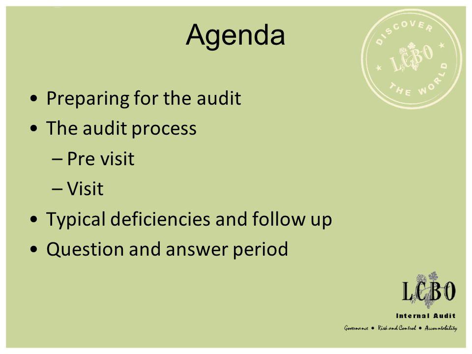 Agenda Preparing for the audit The audit process Pre visit Visit