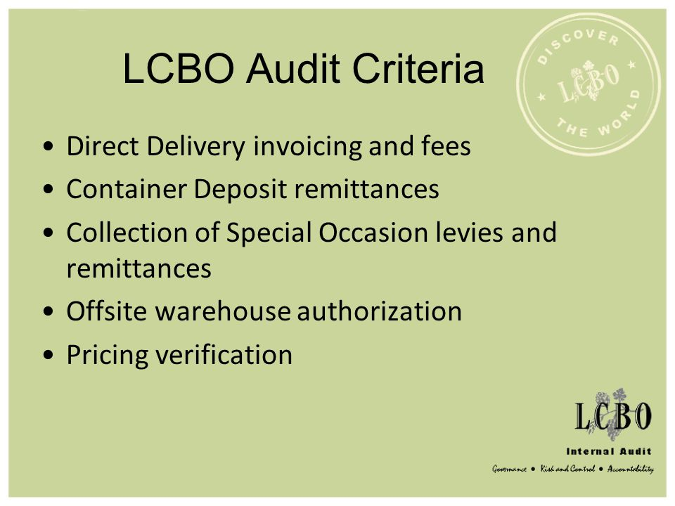 LCBO Audit Criteria Direct Delivery invoicing and fees