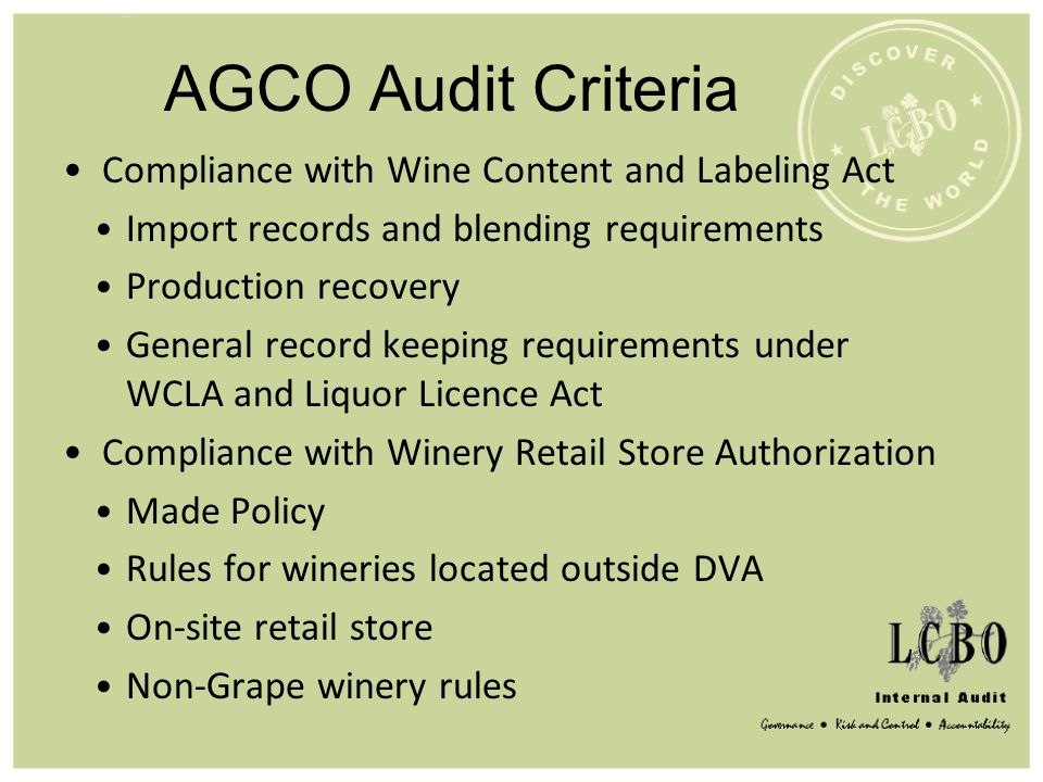 AGCO Audit Criteria Compliance with Wine Content and Labeling Act