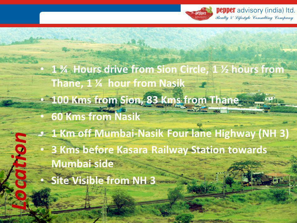 1 ¾ Hours drive from Sion Circle, 1 ½ hours from Thane, 1 ¼ hour from Nasik