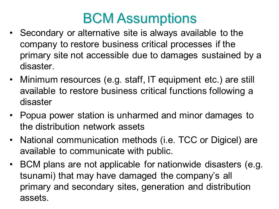 BCM Assumptions