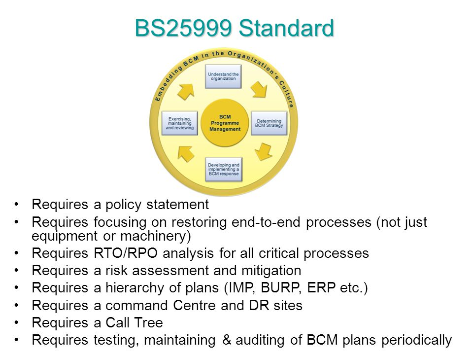 BS25999 Standard Requires a policy statement