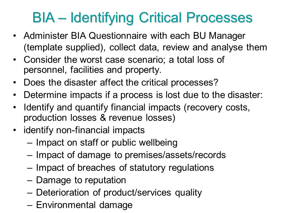BIA – Identifying Critical Processes