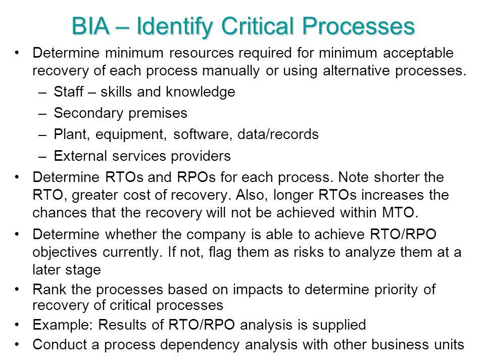BIA – Identify Critical Processes