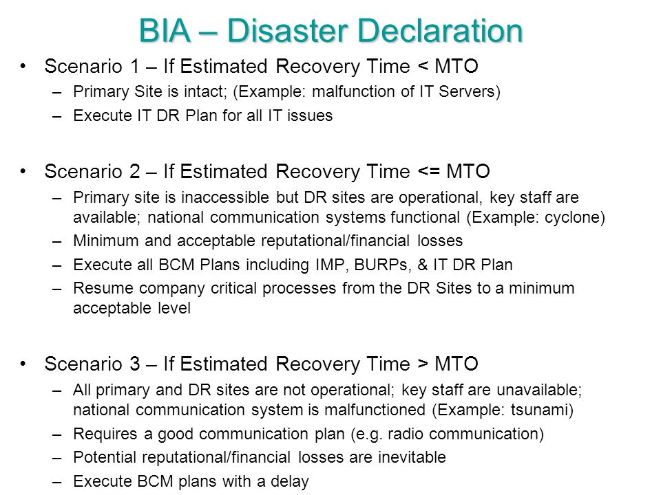 BIA – Disaster Declaration