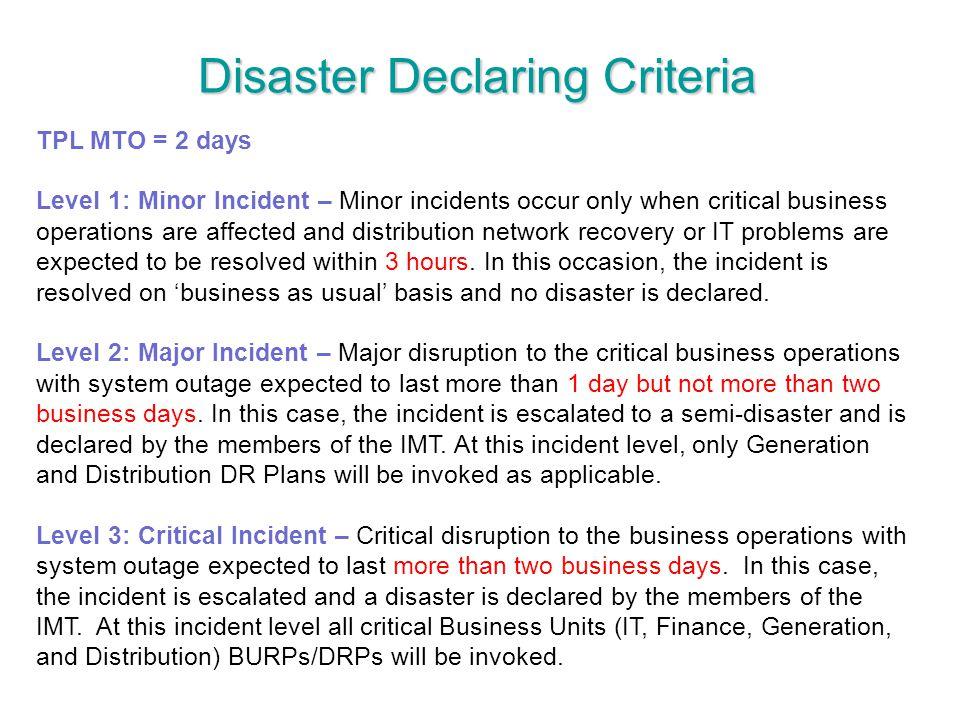 Disaster Declaring Criteria