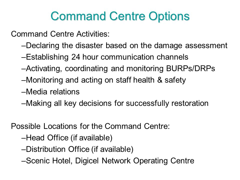 Command Centre Options