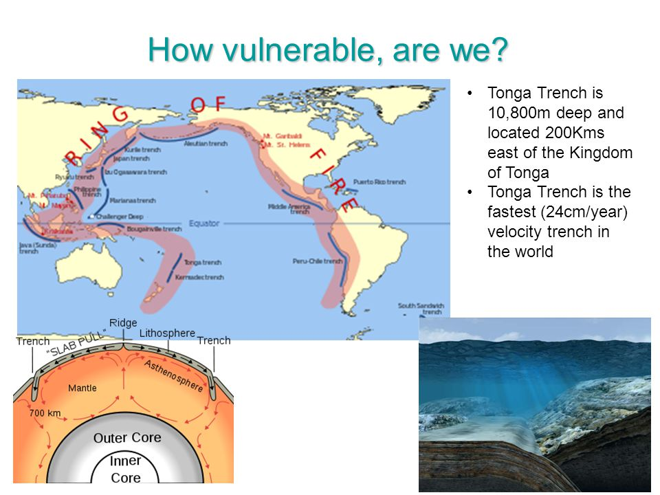 How vulnerable, are we Tonga Trench is 10,800m deep and located 200Kms east of the Kingdom of Tonga.