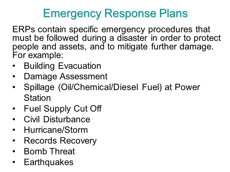 Emergency Response Plans