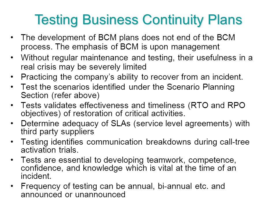 Testing Business Continuity Plans