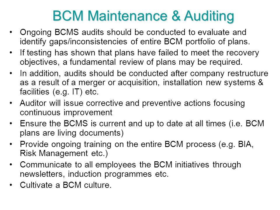 BCM Maintenance & Auditing
