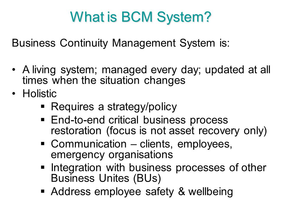 What is BCM System Business Continuity Management System is: