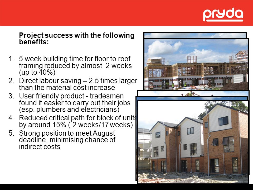 Project success with the following benefits: