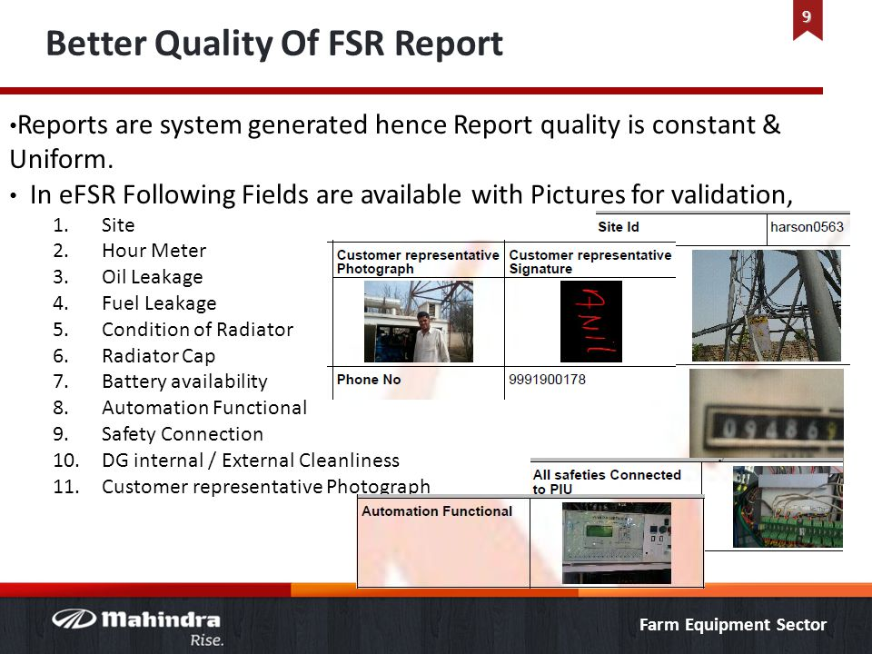 Better Quality Of FSR Report