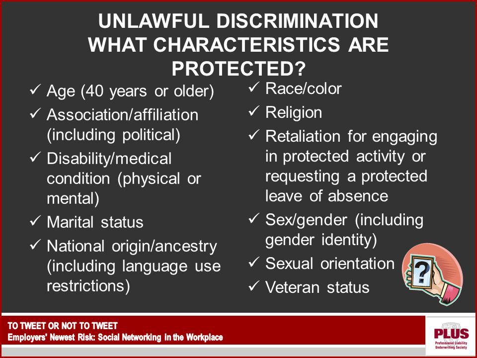UNLAWFUL DISCRIMINATION WHAT CHARACTERISTICS ARE PROTECTED