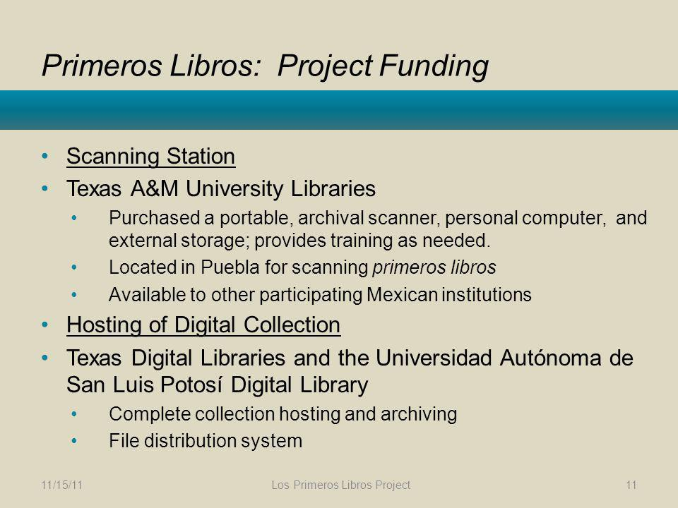 Primeros Libros: Project Funding