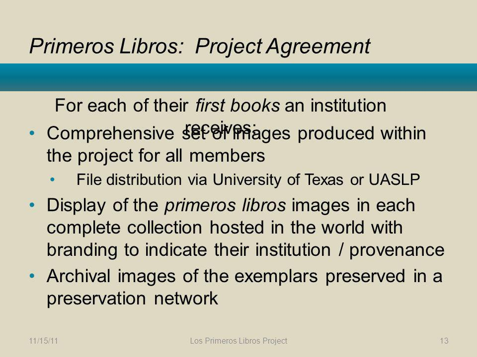 Primeros Libros: Project Agreement