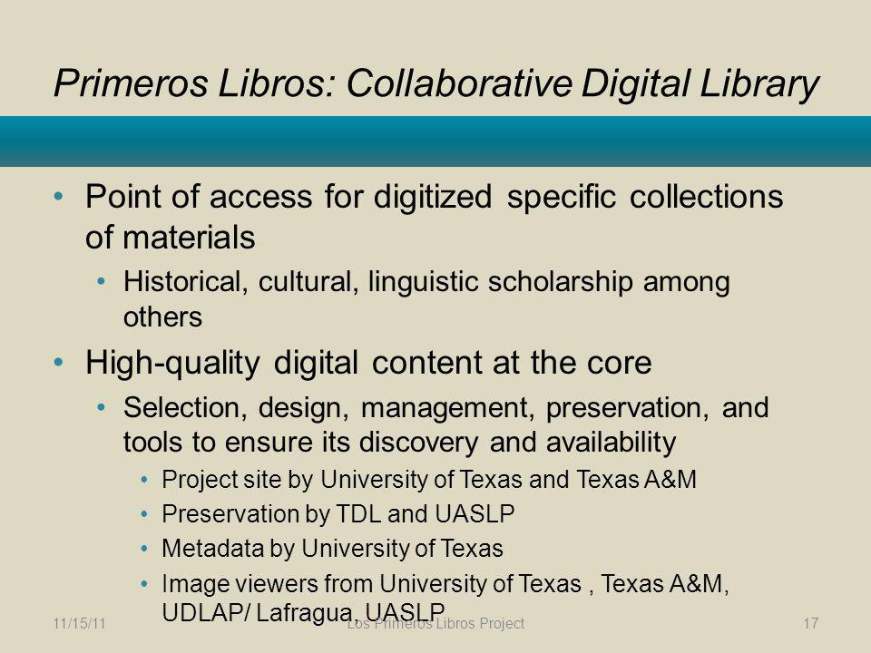 Primeros Libros: Collaborative Digital Library