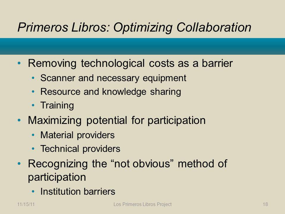 Primeros Libros: Optimizing Collaboration