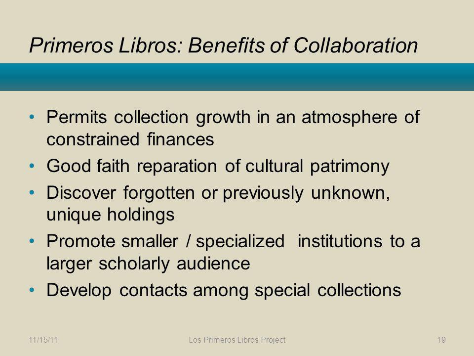 Primeros Libros: Benefits of Collaboration