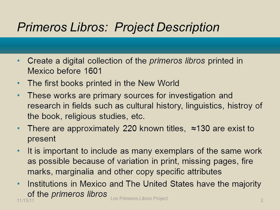 Primeros Libros: Project Description