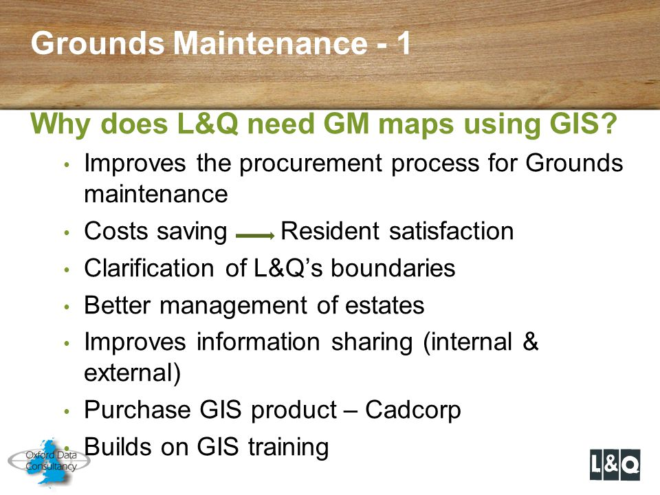 Grounds Maintenance - 1 Why does L&Q need GM maps using GIS