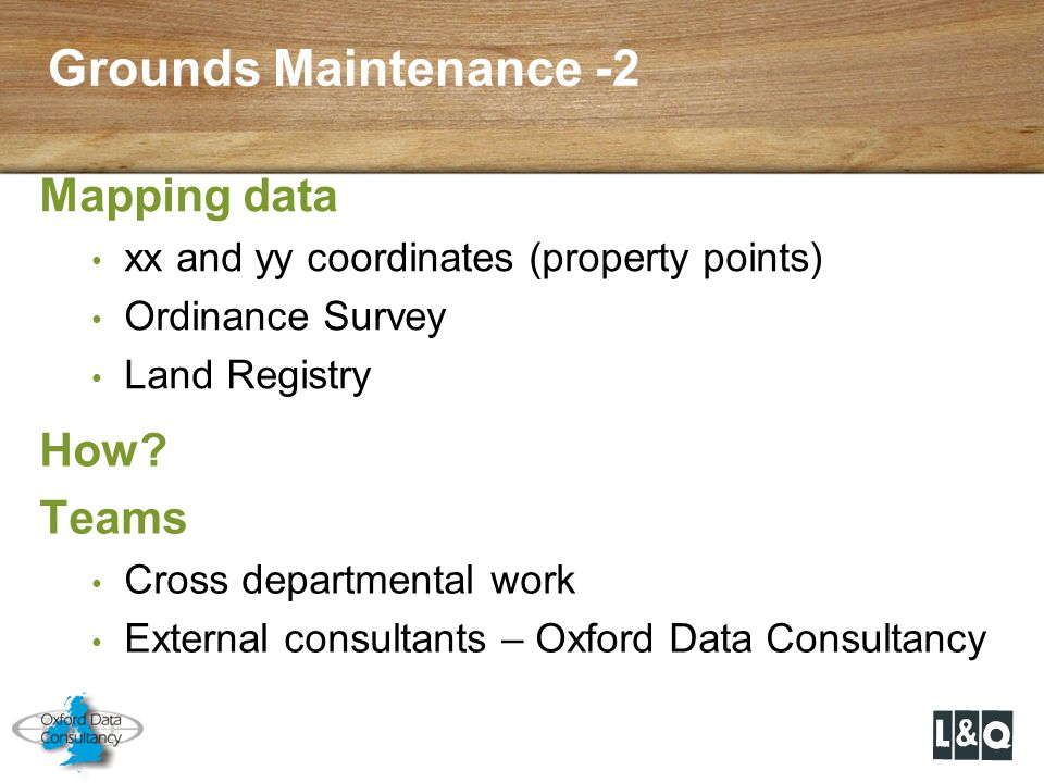 Grounds Maintenance -2 Mapping data How Teams