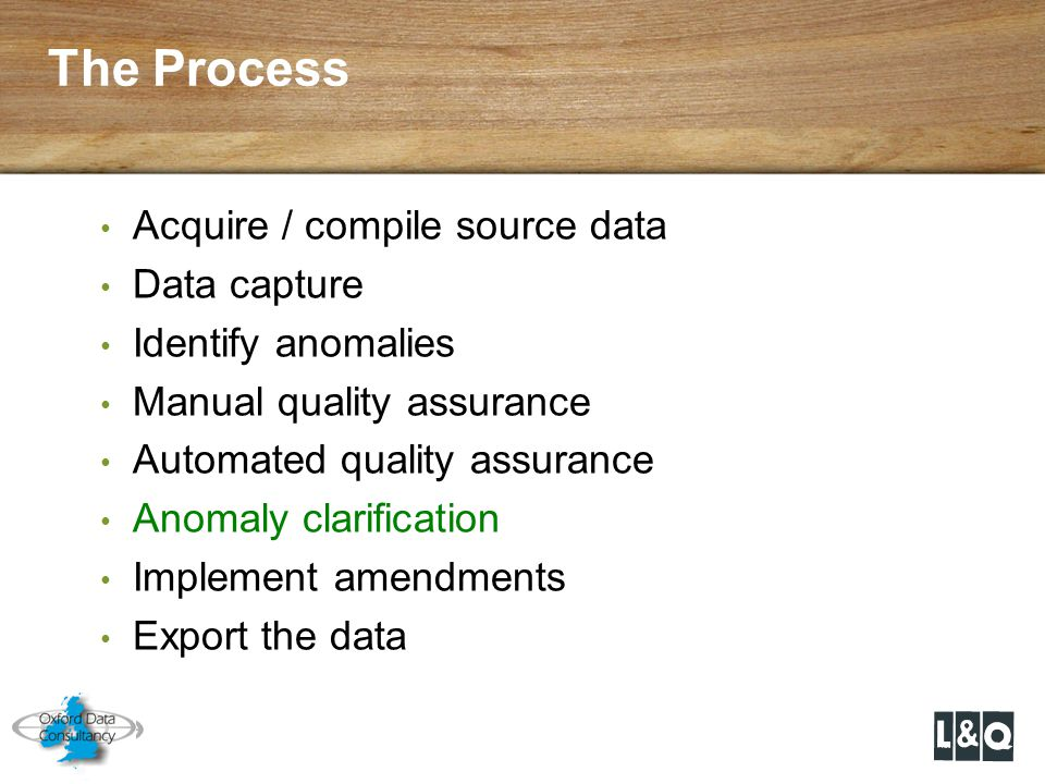 The Process Acquire / compile source data Data capture