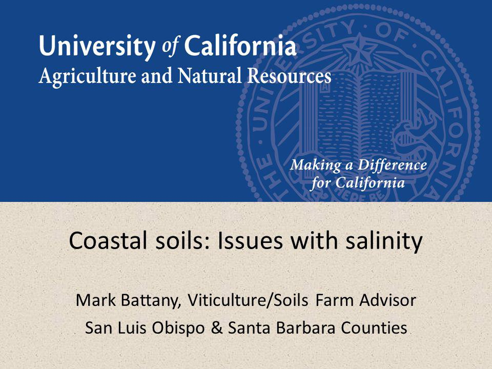 Coastal soils: Issues with salinity