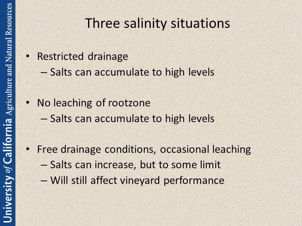 Three salinity situations