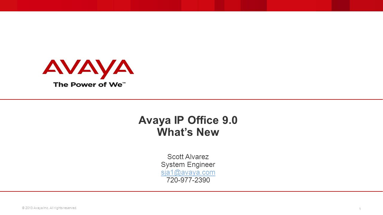 Avaya IP Office 9.0 What's New