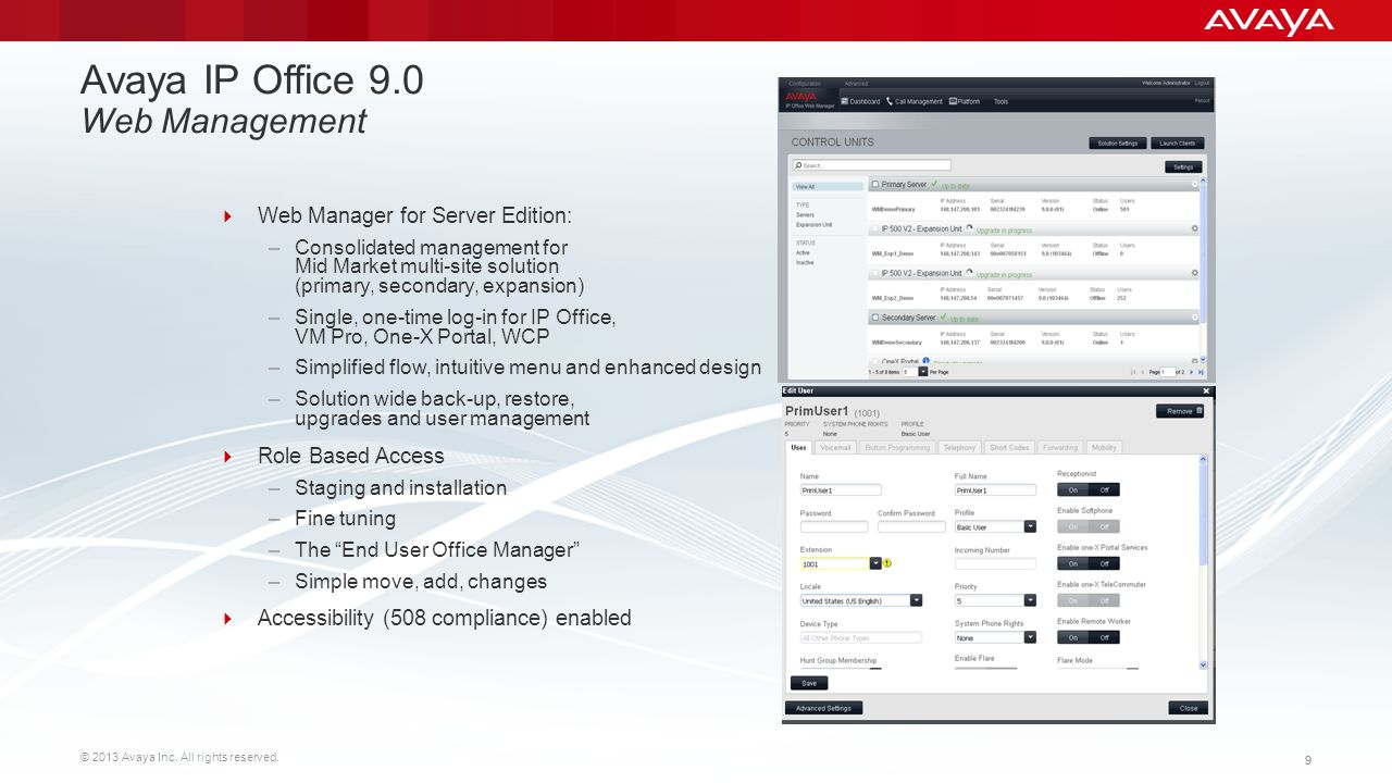 Avaya IP Office 9.0 Web Management