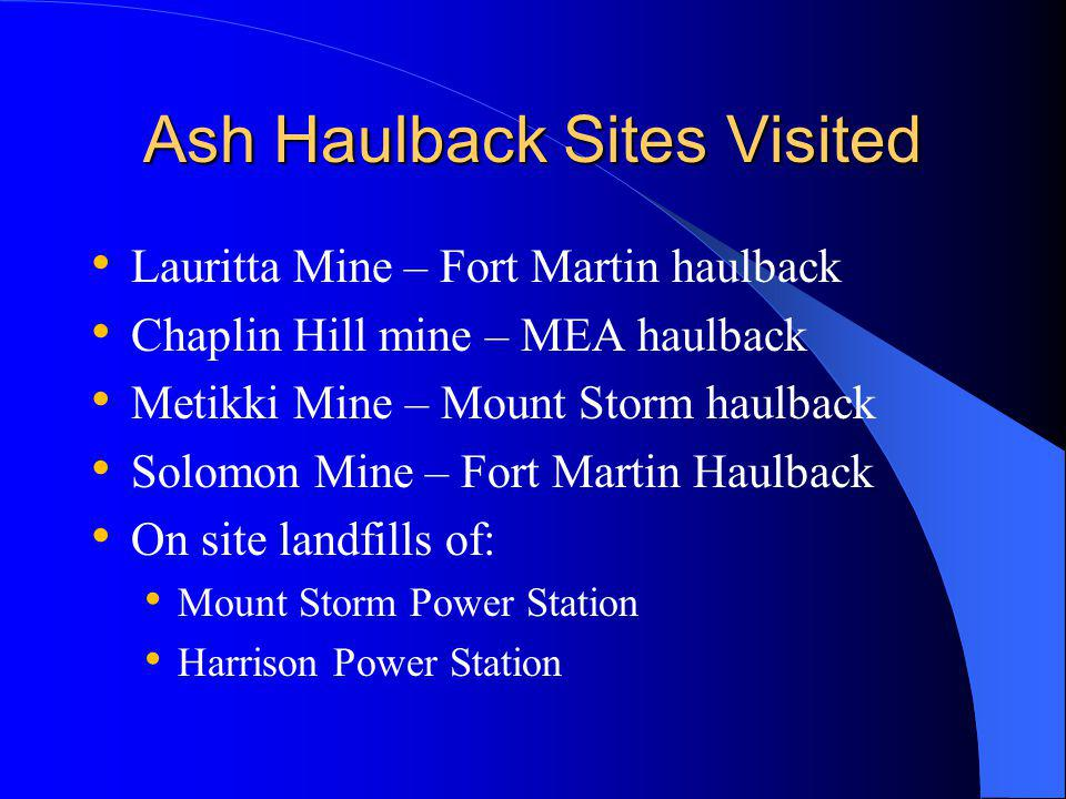 Ash Haulback Sites Visited