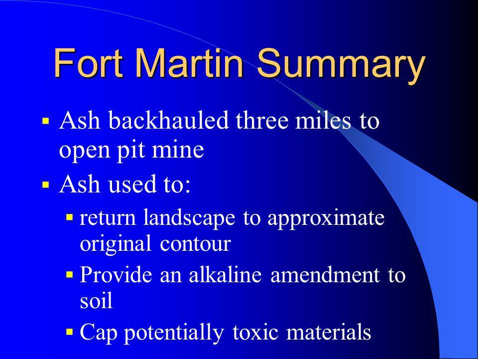 Fort Martin Summary Ash backhauled three miles to open pit mine