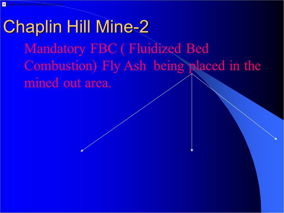 Chaplin Hill Mine-2 Mandatory FBC ( Fluidized Bed Combustion) Fly Ash being placed in the mined out area.