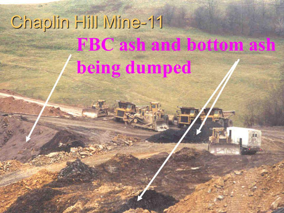 FBC ash and bottom ash being dumped