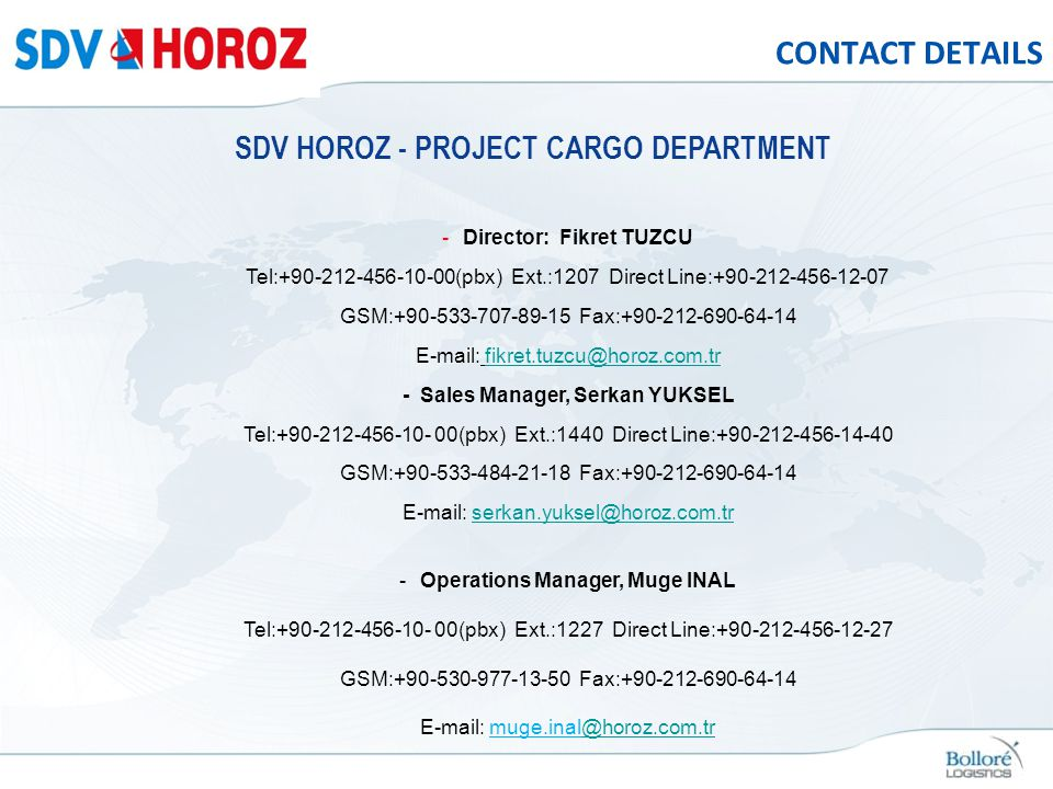 CONTACT DETAILS SDV HOROZ - PROJECT CARGO DEPARTMENT