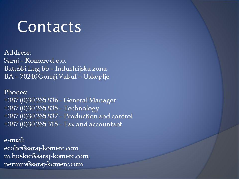 Contacts Address: Saraj – Komerc d.o.o.