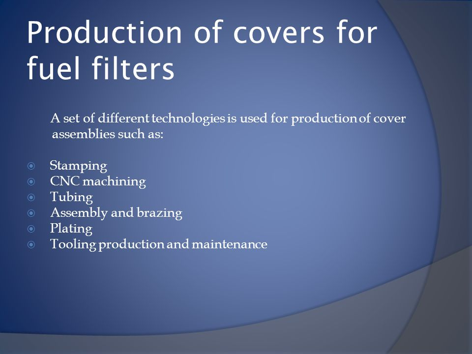 Production of covers for fuel filters