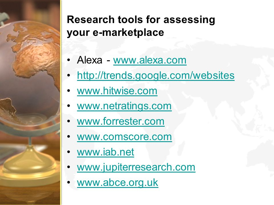 Research tools for assessing your e-marketplace
