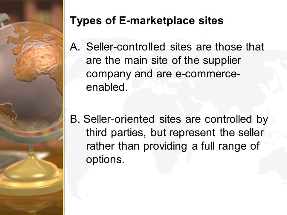 Types of E-marketplace sites