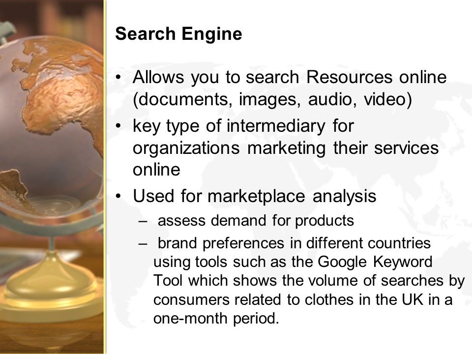 Used for marketplace analysis