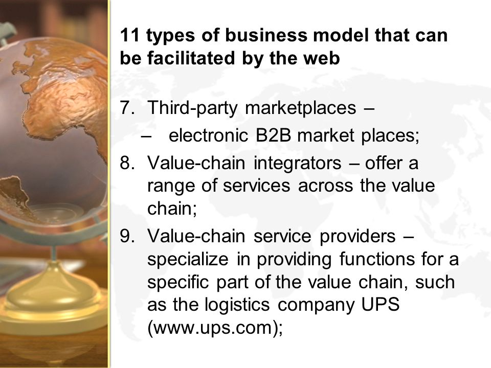 11 types of business model that can be facilitated by the web