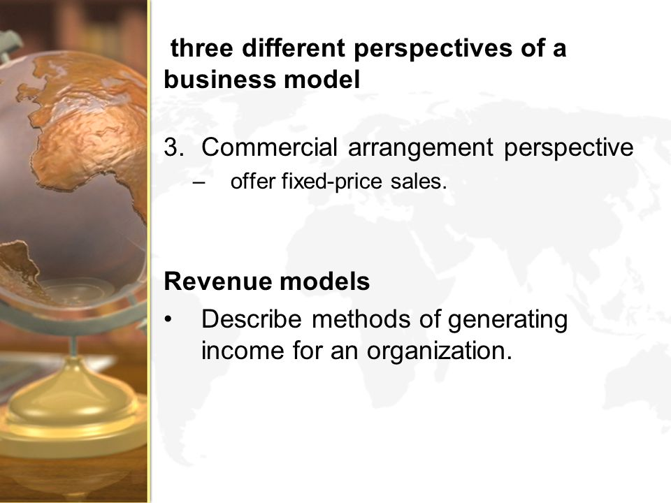 three different perspectives of a business model
