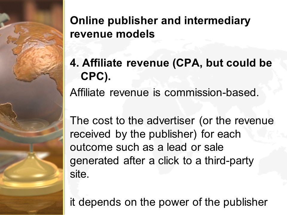 Online publisher and intermediary revenue models