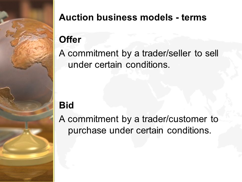 Auction business models - terms
