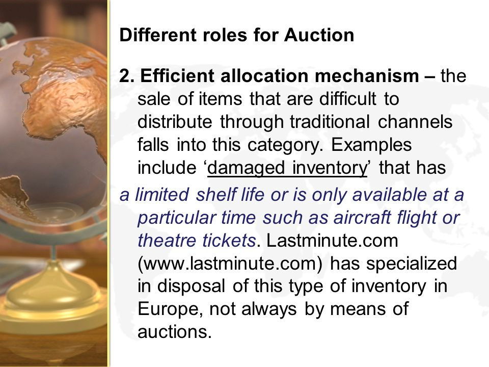 Different roles for Auction